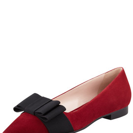 miu miu - Suede Pointed-Toe Bow Flat, Red