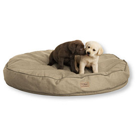 L.L.Bean - Premium Denim Dog Bed, Round ( Khaki )