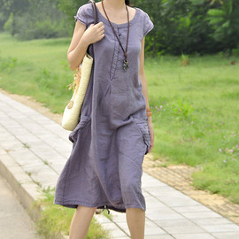 etsy - Summer Maxi dress/  linen short sleeved Long dress