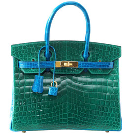 HERMES - BIRKIN 30 Emerald Green Blue Izmir Crocodile 2 tone gold hardware