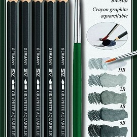 Faber Castell - Faber-Castell Graphite Aquarelle Water-soluble Pencils assorted set of 5 with brush