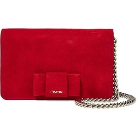 Miu Miu - Bow-embellished suede shoulder bag