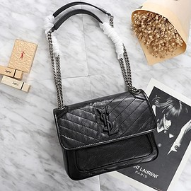 Yves Saint Laurent - Saint Laurent Large Niki Chain Bag In Crinkled And Quilted Leather Black