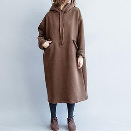 dress - Women's brown Dresses, Woman Long Sleeve dress, Loose hooded dress