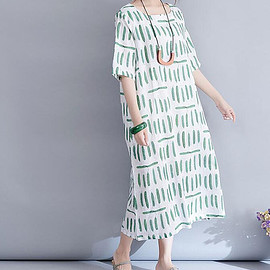 Maxi linen dress - Maxi linen dress, Summer long Printed dress, Short sleeves long dress, long cotton dress