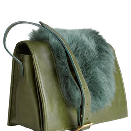Jas MB - Green Melissa Fur and Leather Cross Body Bag