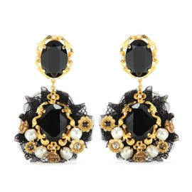 DOLCE&GABBANA - CRYSTAL EMBELLISHED CLIP-ON EARRINGS