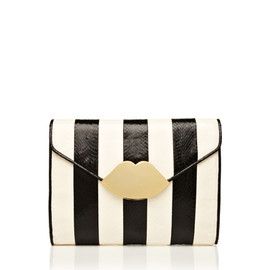 lulu guinness - Black and White Stripe Snakeskin Small Envelope Clutch