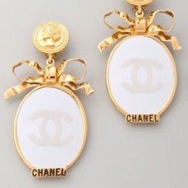 CHANEL - Vintage Vintage Chanel CC Bow Mirror Earrings
