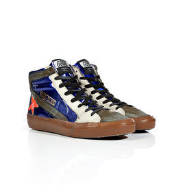 GOLDEN GOOSE - Slide Sneakers in Blue Lamé/Orange Fluo Star