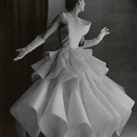 Lanvin-Castillo origami evening gown in white silk, Spring 1951.  Couture Allure Vintage Fashion