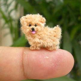 SU AMI - Handmade mini crochet dog - fawn Maltese puppy