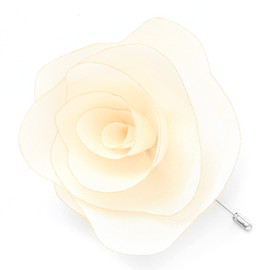 3.1 Phillip Lim - 3.1 Phillip Lim Hand- Crafted Large Silk Open Rose Pin in Antique White