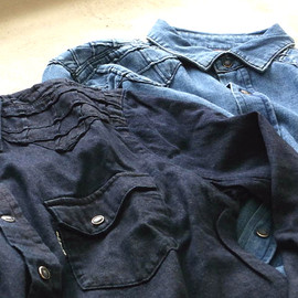 BLUEBLUE - CROSSTUCK DENIM WESTERN SHIRT