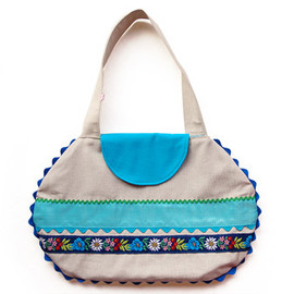 Luulla - Linen bag with blue appliqué ribbons