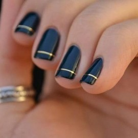 navy with thin gold band