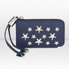 JIMMY CHOO - Roma Navy Pearlized Grainy Leather Coin Purse with Stars