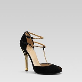 GUCCI - 'ophelie' high heel open-toe t-strap pump.