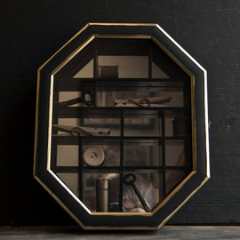 Vintage Home Decor - Victorian Rustic Industrial - Curio Display Box- Victorian Mirrored -