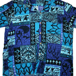 VINTAGE - Vintage 80s Blue / Teal / Purple Hawaiian Shirt Mens Size XL