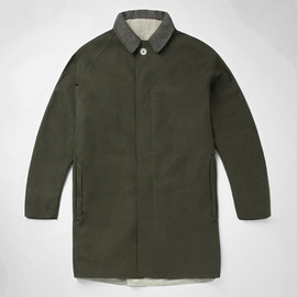 S.E.H Kelly - Green dry waxed cotton and cashmere mac