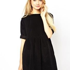 asos - ASOS Cord Smock Dress in Black