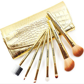 Bamboo Brush Set with Premium Synthetic Hair Bamboo Handles and Pouch