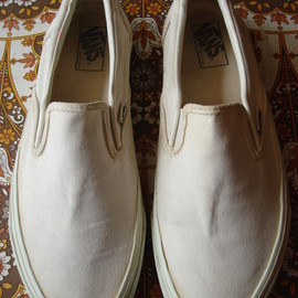 VANS - slip-on  solid white white canvas made In usa 90's