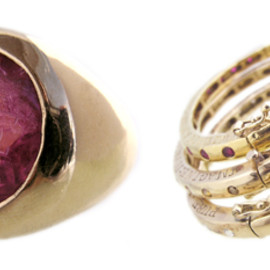 Talavera - Aurora Lopez Mejia's Amulet Ring and her 18k gold Eternity Handcuffs