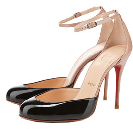 Christian Louboutin - Christian Louboutin Tres Decollete 100mm Patent Leather Pumps Black Nude