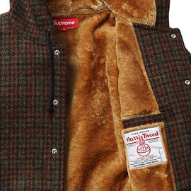 Supreme - Supreme x Harris Tweed   Wool Hooded Coaches Jacket | Available Now