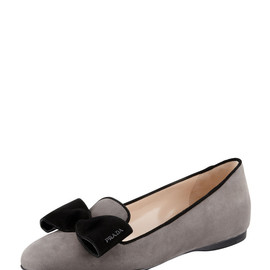 PRADA - Suede Hidden Wedge Bow Smoking Slipper, Gray