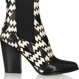 KENZO - Printed elaphe and leather ankle boots