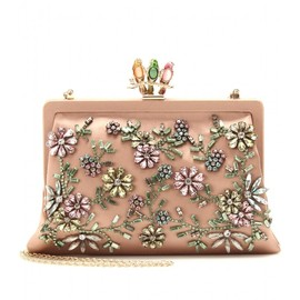Valentino - GLAM FLOWER SATIN CLUTCH WITH EMBELLISHMENT