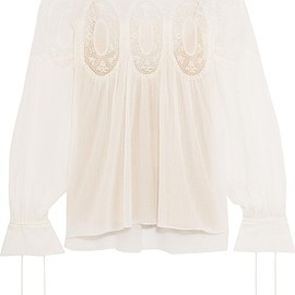 Chloé - Lace-trimmed cotton-voile blouse