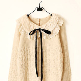 fashion - Image of [grzxy6600769]Sweet Lovely Fresh Soft Bowtie Weave Pattern Splicing Lace Sweater Pullover