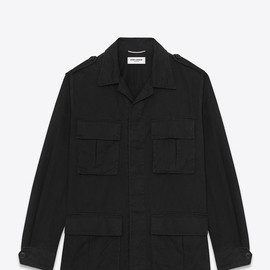 SAINT LAURENT - SS2015 CLASSIC MILITARY PARKA IN BLACK COTTON AND LINEN GABARDINE
