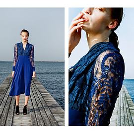mame - embroidery & race long dress navy
