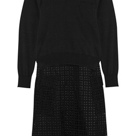 sacai luck - fine-knit cotton and crocheted lace dress
