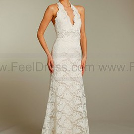 sleeveless lace fit and flare gown
