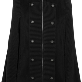 PIERRE BALMAIN - Leather-trimmed wool and cashmere-blend cape