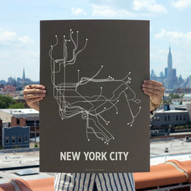 NYC Screenprint Charcoal Brown - LinePosters