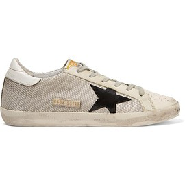 Golden Goose Deluxe Brand - Super Star distressed leather-paneled mesh sneakers