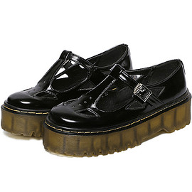 Black T Strap Buckle Hollow Thick-soled Flats pictures