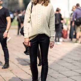 Cable Knit Pullover/leather leggings.