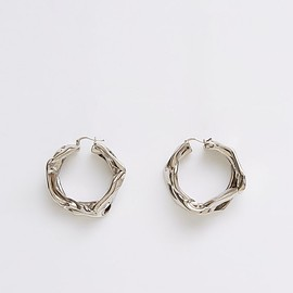 JIL SANDER - Hammered Silver Medium Hoop Earrings