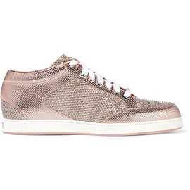 Jimmy Choo - Miami glittered mesh and embossed leather sneakers