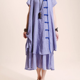 Dress It Up - cotton Loose Fitting comfort long dress Two layers large size dress