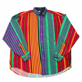 TOMMY HILFIGER - Vintage 90s Tommy Hilfiger Colorful Striped Button Down Shirt Mens Size XL