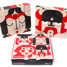 miller goodman - Image of FaceMaker Wooden Toy 25 Rubberwood Blocks